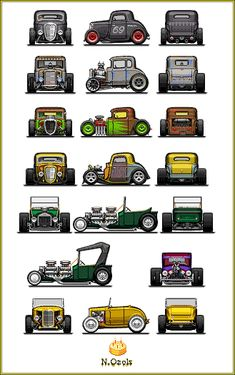 Also, I started doing pixelcars exactly 5 years ago, that's why there's a cake HOT RODS II Old Race Cars, Pedal Cars, Wooden Toy Cars, Wood Toys, Paper Model Car, Bone Shaker, Model Cars Building, Bike Sketch, Custom Muscle Cars