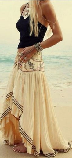 Love Love LOVE this Bohemian Style Skirt! Beige Asymmetric Bohemian Maxi Skirt