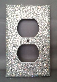 Bling Silver Glitter Rhinestone Outlet Cover 2 Horizontal Toggle Light Switch I Have One