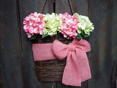 Hydrangea Basket Wreath  Spring Wreath  by RingAroundtheWreaths, $70.00