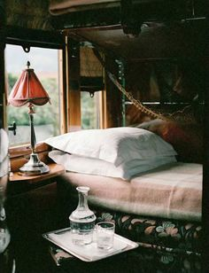 A 'room' on the Orient Express... You can still get a compartment on an old and luxurious train. Bucket list.