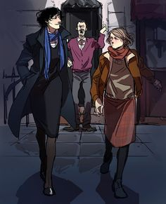 """Femlock, Fem!John, and Mr. Hudson by oooyooo. // At first I was all like, """"Um, but why didn't she draw them better looking?""""  o_0  But then I thought, hey, imagine if important, respected women on TV were allowed to be plain, and were still respected on the merits of, you know, DOING SHIT. Wouldn't that be nice?"""