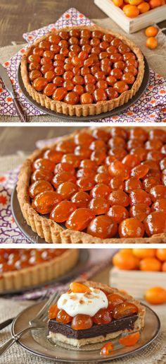 Chocolate Tart with Candied Kumquat - juicy, sweet-tart fruit on top of rich chocolate ganache!   From SugarHero.com