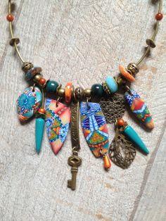 Collier ras de cou Bohème Acoma turquoise et orange Nouvelle collection : Pendentif par arliane