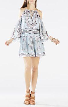 Breanne Cold-Shoulder Printed Peasant Dress