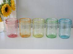 DIY: Tinted Mason Jars in Rainbow
