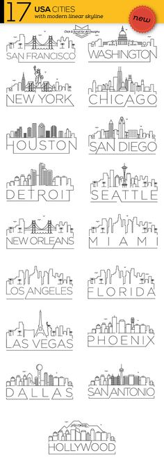 17 USA Cities Linear Skyline CreativeWork247 - Fonts, Graphics, Themes, Templates More