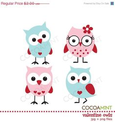Valentine owls in pink and blue.   cute cartoons to add to cards, could even be done in felt
