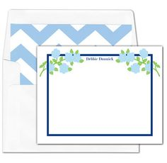 Blue Corner Stem Flat Note Cards