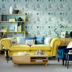 teal living rooms | Teal living room with yellow sofa | How to decorate with yellow ...