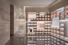 """HAS uses frosted glass to """"blur boundaries"""" for The Glade Bookstore. Chinese Architecture, Architecture Office, Wood Bookshelves, Bookcase, Space Projects, Translucent Glass, Design Research, Retail Interior, Exhibition Space"""