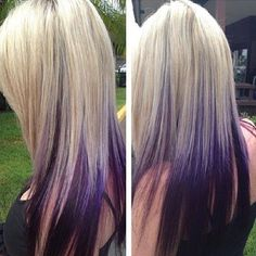 51 Ideas hair highlights and lowlights purple platinum blonde Hair Color And Cut, Hair Color Purple, Blonde Color, Purple In Blonde Hair, Hair Colors, Dark Purple, Black Hair, Love Hair, Gorgeous Hair