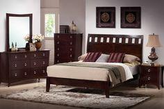 A.M.B. Furniture & Design :: Bedroom furniture :: Bedroom Sets :: Wood Bed Sets :: Platform Bed Sets :: 5 pc Kimberly collection medium cherry finish wood slatted back headboard bed set