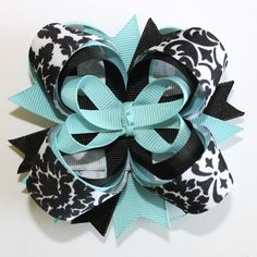 Turquoise and Black Damask 4 Inch Stacked Boutique Hair Bow <3 <3 <3