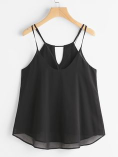 Shop Strappy Keyhole Back Dip Hem Chiffon Cami Top online. SheIn offers Strappy Keyhole Back Dip Hem Chiffon Cami Top & more to fit your fashionable needs. Cute Girl Outfits, Cute Casual Outfits, Boho Outfits, Pretty Outfits, Casual Chic, Fashion Outfits, Sheer Shirt Outfits, Tank Top Outfits, Chiffon Cami Tops