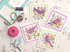 Stitch a set of songbird cards | Free Chart | Cross Stitching