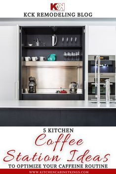 Minimalist coffee station with dark wood - There's storage up above for mugs and glassware, and there's a large stainless steel prep area at counter level. The station can double as a bar for mixed drinks at night, as well.