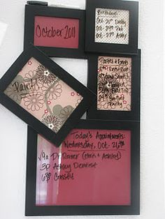 $3 project. Just put scrapbooking paper in there and write on the glass with a dry erase marker. did this!! so cute!!
