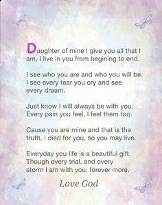Inspirational poem Daughter of mine