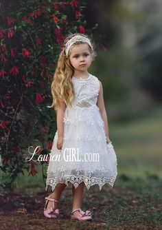 Georgianna white lace dress is designed with delicate laces and is adorned with rhinestones embellished lace sash. Girls Lace Dress, White Flower Girl Dresses, Baby Girl Dresses, Little Dresses, White Lace, Beautiful Dresses, Girl Fashion, Wedding Dresses, Bridesmaid Ideas