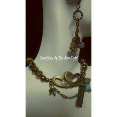 Czech Fire and Bronze bracelet/earring set CraftinByTheMoonlite@etsy.com
