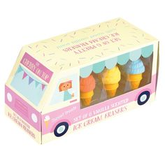 Set of 6 vanilla scented 'ice cream' rubber erasers in a presentation box. Not for children under 3 years old.Size: Length 4 cm Note: This item is not edible, Please do not place in mouth as this poses a choking hazard School Suplies, Cool School Supplies, Kids Stationery, Ice Cream Van, Unusual Gifts, Wedding Anniversary Gifts, Novelty Gifts, Cool Gifts, Toys
