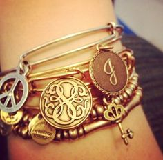 Stacked Alex and Ani bracelets