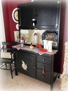 you use paste wax on furniture as a finishing layer, DON'T use it on black painted furniture. It will attract the dust in our home more readily and be worse for upkeep than black painted furniture already is. Decor, Painted Furniture, Refurbished Furniture, Black Painted Furniture, Furniture, Vintage Kitchen, Hoosier Cabinet, Redo Cabinets, Hoosier Cabinets