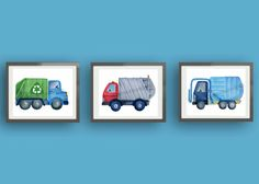 Hey, I found this really awesome Etsy listing at https://www.etsy.com/listing/247633986/garbage-trucks-art-printstransportation