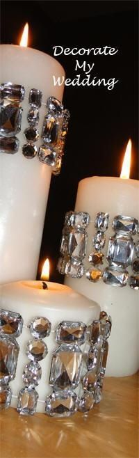 Bling bracelets decorate candle...ok, not for a wedding, and not exactly this...but the concept, people.