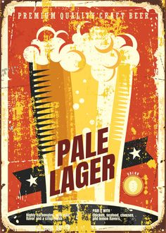 """Beer Styles Pale Lager #Displate artwork by artist """"Mr. Jackpots"""". Part of a set featuring various craft beer styles. £35 / $50 (Medium), £71 / $100 (Large), £118 / $166 (XL) #Ale #Beer #Hefeweizen #IPA #Lager #Porter #Stout #Alcohol #Alcoholic #Beverage #Pub #Bar #CraftBeer #Brewer #Brewery"""