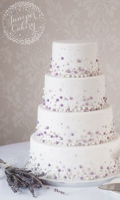 Beaded wedding cake by Juniper Cakery - Fab & lyn wedding - . Beaded wedding cake by Juniper Cakery – Fab & lyn wedding – cake Beaded Wedding Cake, Wedding Cake Pearls, Luxury Wedding Cake, Purple Wedding Cakes, Elegant Wedding Cakes, Beautiful Wedding Cakes, Wedding Cake Designs, Beautiful Cakes, Cake Wedding