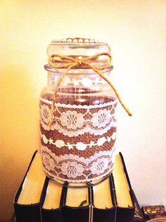 Rustic Upcycled Yankee Candle Jar #gift #upcycle