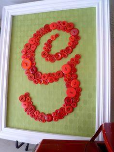 Framed button monogram - letter G