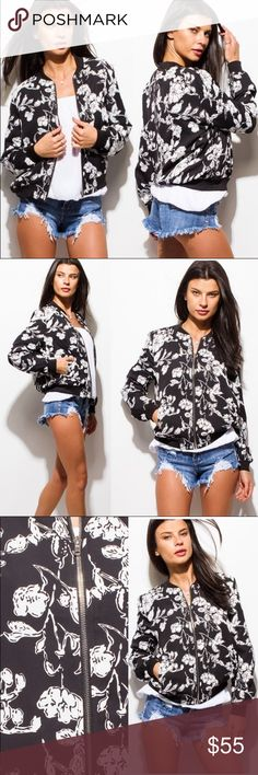 Beautiful black & white bomber jacket !!! Black & White print jacket , zipper front, side pockets , fabric is lightweight & very soft , this jacket is BEAUTIFUL !!!...fabric is 100% polyester & runs true to size Jackets & Coats