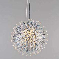 """Lámpara colgante SOLEIL 10 cromo- Luz con forma redonda muy """"chic"""" y elegante. De tamaño compacto (40cm). Bonita combinación de aluminio con cristal."""