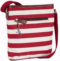 Across body messenger style shoulder bag in a red striped nautical style with brown faux leather trim excellent quality canvas fabric with a single