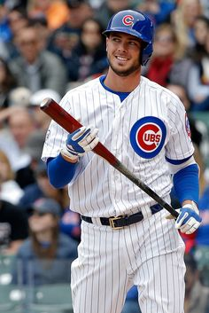 Kris Bryant Photos - Kris Bryant of the Chicago Cubs reacts after striking out against the San Diego Padres during the first inning on April 2015 at Wrigley Field in Chicago, Illinois. - San Diego Padres v Chicago Cubs Chicago Cubs Fans, Chicago Cubs Baseball, Baseball Boys, Baseball Players, Chicago Illinois, Bryant Baseball, Baseball Park, Tigers Baseball, Chicago Bears