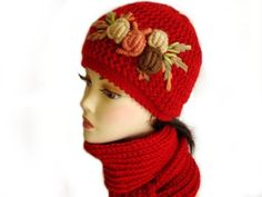 Red Hat and Scarf Set with Crochet Flower Applique by Nikifashion, $65.00