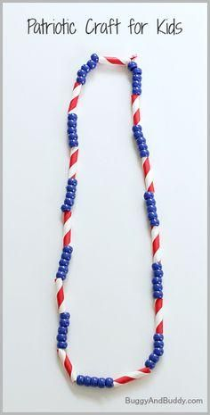 Great fine motor craft for toddlers! 4th of July Craft for Kids: Patriotic Necklace