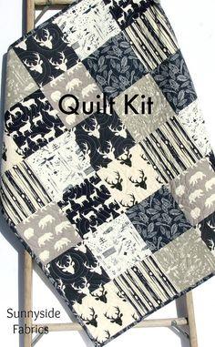Quilt Kit, Navy Blue Woodland Boy Rustic, Aztec Tribal, Grey Gray, Buck Forest, Bears Birch Organic Fabrics, Crib Bedding, Quilting Sewing by SunnysideFabrics