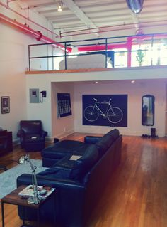 Photos of Lofts, Spiral Staircases, and other beautiful interior design. Bike Storage Apartment Balcony, Apartment Balconies, Loft Apartments, Attic Spaces, Small Spaces, Lofts, Bike Wall Mount, Range Velo, Loft Studio