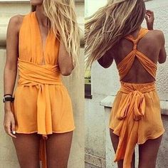 $38.38 AUD cheapest I could find Free Shipping  2014 Sexy deep V halter ribbon jumpsuits  FT1694