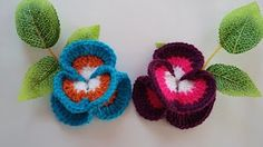 (75) Crochet pansy Как вязать анютины глазки крючком Цветок 71 - YouTube