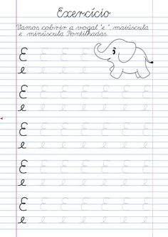 Atividade Vogal E pontilhada para imprimir Alphabet Tracing Worksheets, Homeschool Worksheets, Tracing Letters, Writing Worksheets, Preschool Printables, Preschool Learning, Teaching Kids, English Alphabet Letters, Learn Calligraphy