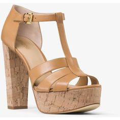 MICHAEL Michael Kors Mercer Cork Platform Leather Sandal ($113) ❤ liked on Polyvore featuring shoes, sandals, leather shoes, leather platform sandals, chunky-heel sandals, chunky shoes and leather sandals