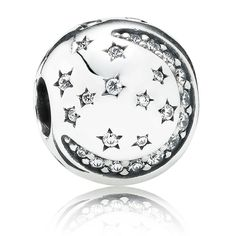 Winter 2014 Collection  Twinkling Night Moon and Stars Clip in Sterling Silver with 46 Cubic Zirconias  The celestial bodies of the night sky - the moon and stars - are embodied in a striking clip. This piece is a great start on a bracelet dedicated to the wonders of the sky.