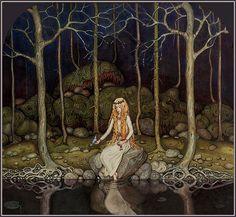 """"""" La princesa del bosque """"por John Bauer."""
