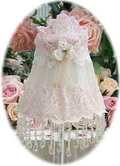 Everyday Romance Pink Beaded Lampshade - Victorian Lampshades - Roses And Teacups
