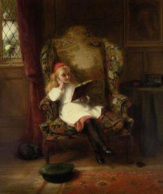 """A Good Read"" ~ George Bernard O'Neill (English 1828-1917)"